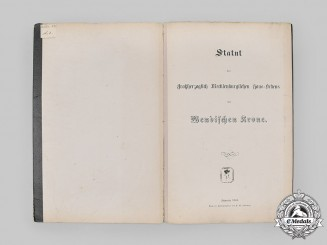 Mecklenburg-Schwerin, Grand Duchy. The Statutes of the Order of the Wendish Crown, 1864