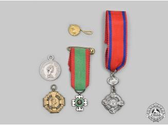 Austria, Empire; Brazil, Republic; Serbia, Kingdom; Vatican; United Kingdom. A Lot of Five Miniature Medals