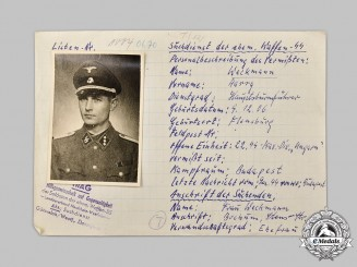 Germany, SS. A HIAG Tracing Service File for SS-Hauptsturmführer Weckmann