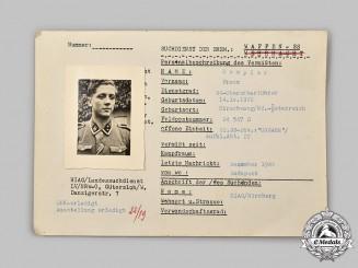 Germany, SS. A HIAG Tracing Service File for SS-Oberscharführer Franz Rumpler