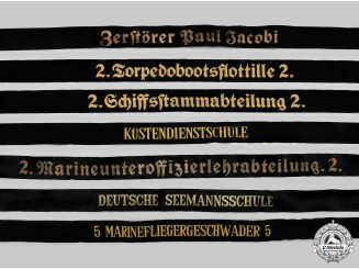 Germany, Kriegsmarine. A Lot of Cap Tally Ribbons