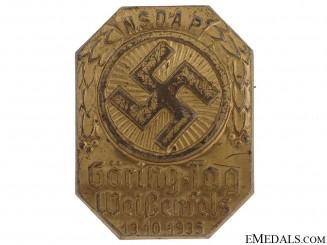 NSDAP Goring Gau Weissenfels Tinnie, 1935