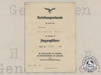 A Pilot Badge Award Document to Gefreiten Heinrich Thies