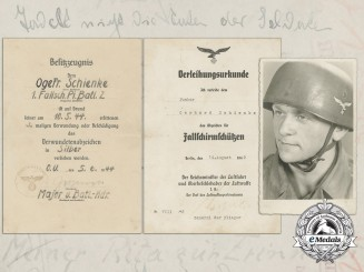 A 1942 Fallschirmjäger Document Group to 1st Company; 2nd Battalion