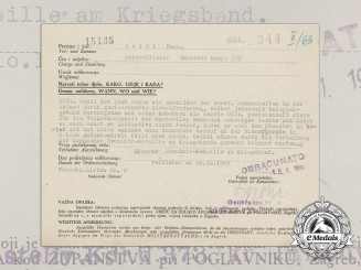 A Second War Croatian Award Acknowledgement; Signed by Generalleutnant Eduard Aldrian