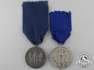 Two Wehrmacht Long Service Medals; Third & Fourth Class