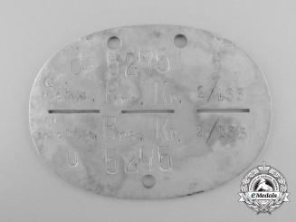 An ID Tag to the Schützen-Ersatz-Kompanie 2/133