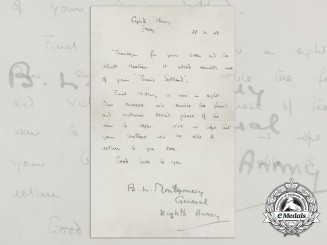 A Signed Letter from General Montgomery, Eighth Army in Italy, October 1943