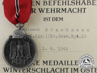 A German Eastern Front Medal & Document to Leutnant Roschmann