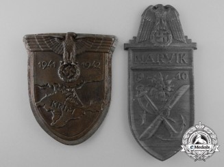 Two Second War German Campaign Shields; Narvik & Krim