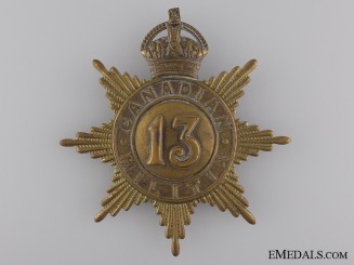 A 13th Canadian Militia Helmet Plate; King's Crown