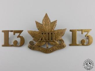 """A 13th Canadian Militia """"Royal Regiment"""" Insignia Set"""