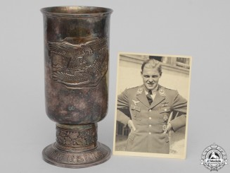 A Luftwaffe Honor Goblet to Fighter Ace Otto Decker with 40 Air Victories KIA