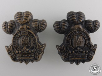 Canada. A 14th Regiment Militia Princes of Wales' Own Regiment Collar Badge Pair