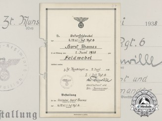 A Promotion Document to Horst Thomas; German Cross in Gold Winner