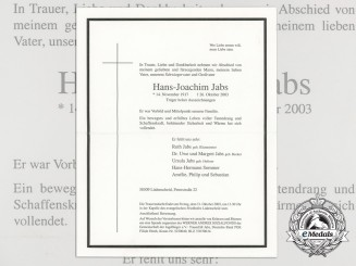 A Death Notice to the Luftwaffe ace RKT Winner Hans-Joachim Jabs