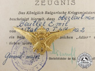 A Grouping to Oberleutnant Emil Beutler with Documents & Bulgarian Eagle Badge