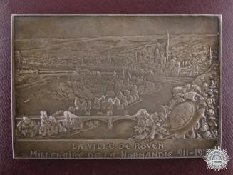 A 1911 French La Ville De Rollon Silver Plaque