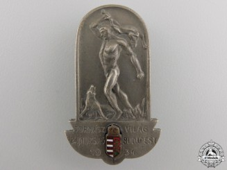 Hungary, Kingdom. A World Gymnastics Championships Badge, c.1934