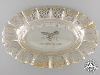 """A 1938 Luftwaffe Jagdstaffel """"Boelcke"""" Commemorative Silver Plate"""