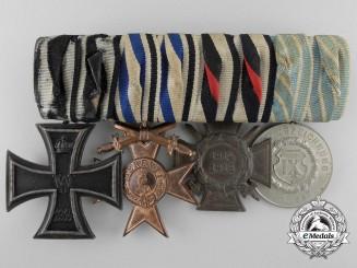 A First War Bavarian Medal Bar; König. Munzamt Orden