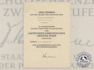 An Award Document for Luftschtuz Award 2nd Class