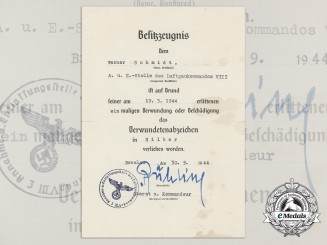 A Luftwaffe Issued Silver Wound Badge Award Document; Breslau, 30.9.1944