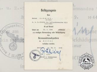 A Luftwaffe Issued Silver Wound Badge Award Document; Breslau, 30.9.1944