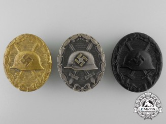 Three German Wound Badges; Gold, Silver, Black Grades