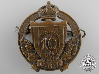 A First War Canadian Railway Troops 10th Battalion Cap Badge