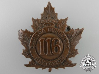 A First War 116th Infantry Battalion Ontario County Infantry Battalion Cap Badge