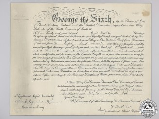 A 2nd Lieutenant Commission Document to Military Cross Recipient
