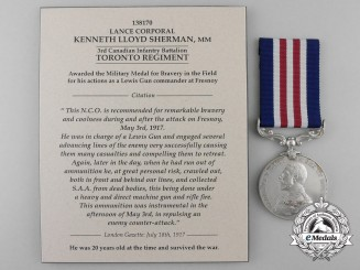 A Canadian Military Medal for Lewis Gun Action at Fresnoy 1917