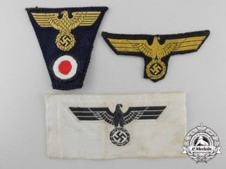 Three Kreigsmarine Cloth Insignia