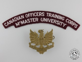 Canada. A McMaster University COTC Cap Badge & Shoulder Flash