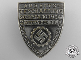 A 1934 German Labour Front (DAF) Wurttemberg-Hohenzollern Trade and Craft Job Creation Tinnie
