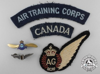 Five Second War Royal Canadian Air Force Insignia & Badges