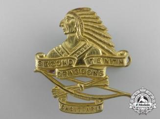 A Second War 2nd Tenth Dragoons Cap Badge