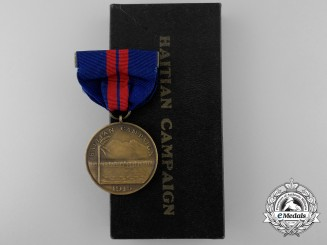 An American Navy Haitian Campaign Medal 1915 with Box of Issue