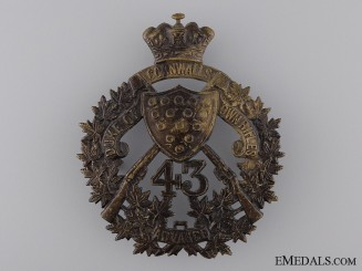 A 43rd The Duke of Cornwall's Own Rifles Helmet Plate
