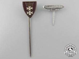 Two Weimar Republic Two Stickpins; Danzig & Zeppelin