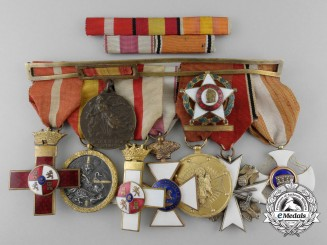 A Spanish Civil War Officer's Medal Bar with Early German Eagle Order by Deschler