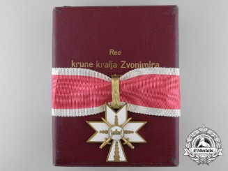 Croatia, Independent State. An Order of King Zvonimir's Crown,  I Class with Swords & Case, c.1941