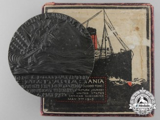 A Cunard Line R.M.S. Lusitania Medallion with Box