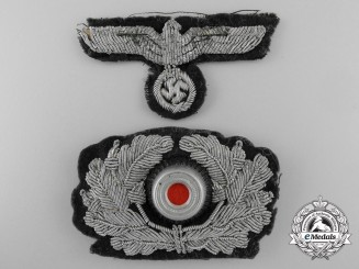 A Set of Army Officer Visor Wreath & Eagle Insignia