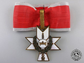 A Croatian Order of the Crown of King Zvonimir;  First Class Cross with Oak Leaves
