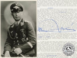 A Signed Knight's Cross Recipient's Photograph; Oberleutnant Wilhelm Joswig,