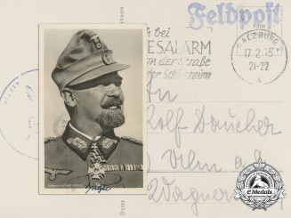 "Germany, Heer. A Signed Postcard of General der Gebirgstruppen Julius Alfred ""Papa"" Ringel"