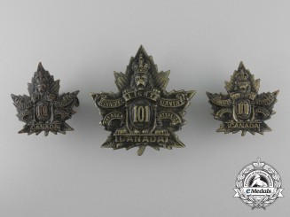 A 1st Depot Battalion British Columbia Cap Badge & Collars