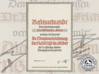 A 1940 NSDAP Long Service Award Document to Dr. Wilhelm Frick